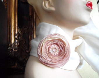 Corsage Brooch Wedding Corsage Flower Brooch Dusky Rose Pink Cream with Upcycled Vintage Button - Chichi Bloom
