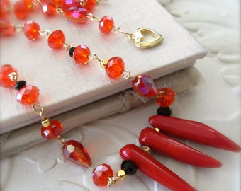 Red Necklace Coral Spike Dagger Beaded Choker Poppy Red Healing Gemstone Jewellery Winter Sale