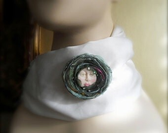 Corsage Brooch Wearable Art Face Brooch Mixed Media Brooch Winter Sale
