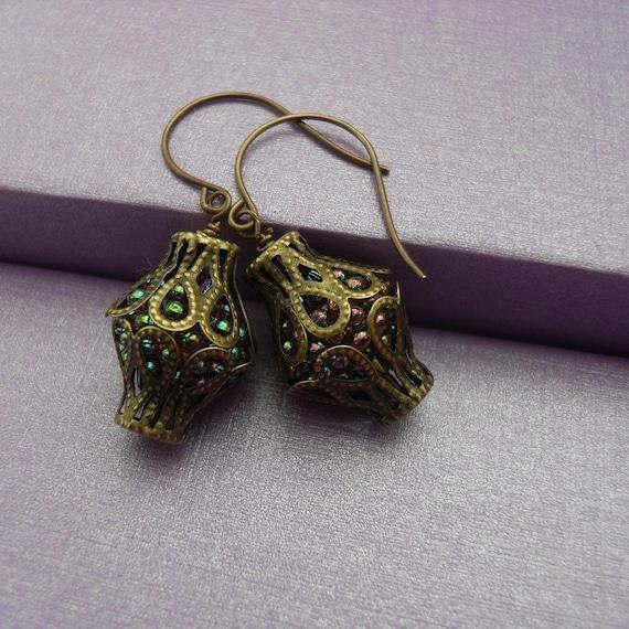 Purple Berry Fruit Bead Dangle Earrings Mystical Magical Lanterns Winter Sale