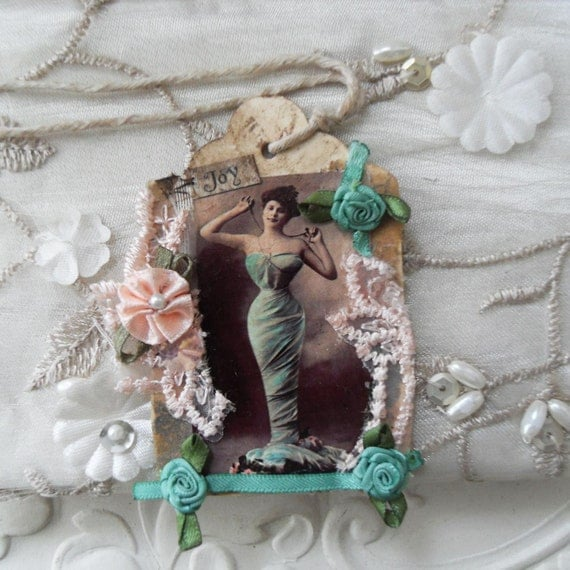Original Mixed Media Collage Gift Tag - Joy