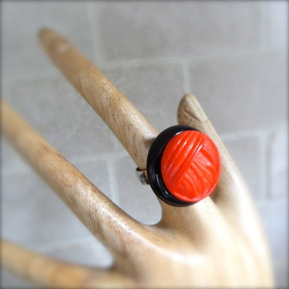 Red Button Ring Red Black Button Accessory Large Size  Adjustable Retro - Lipstick Red