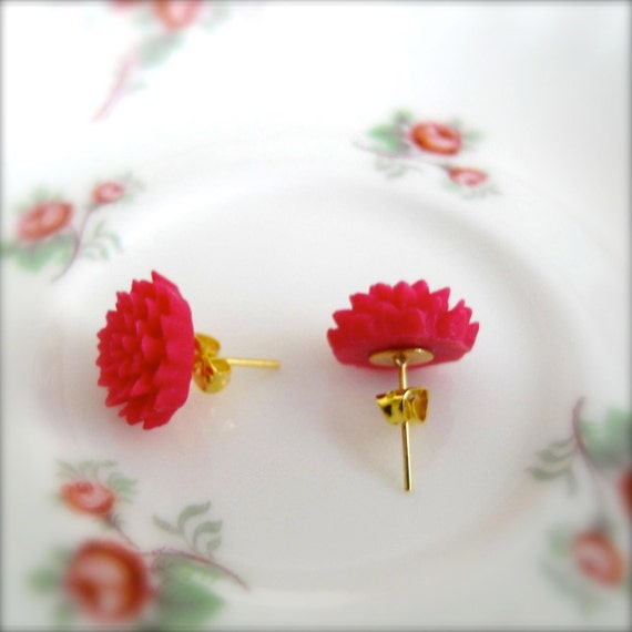 Flower Post Earrings Cerise Pink Chrysanthemum with Gold Plate Fixtures - Delilah - Summer Sale