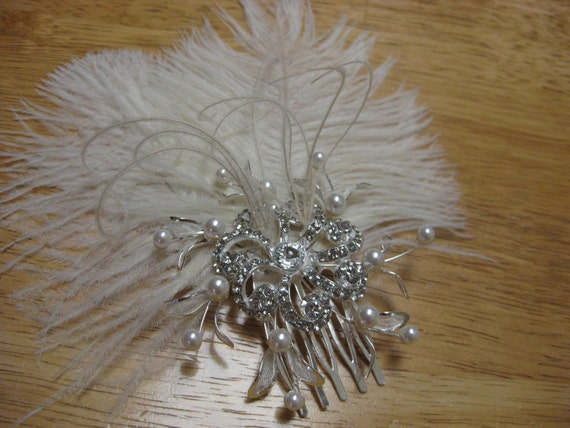 Ostrich feather and rhinestone hair fascinator