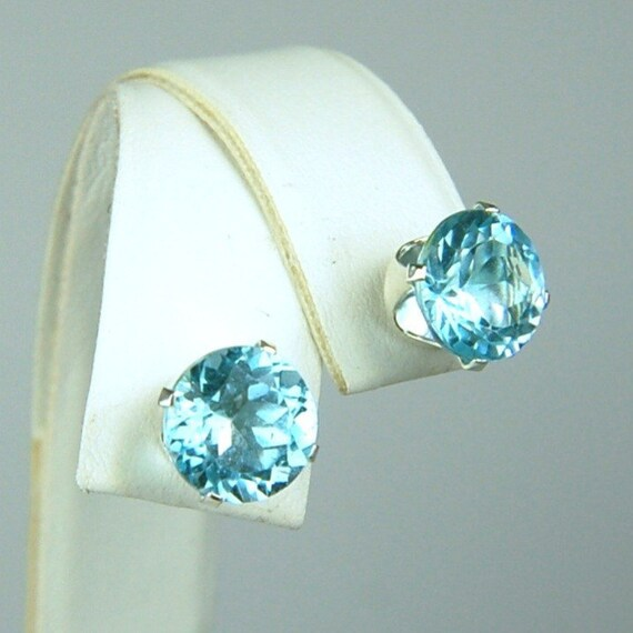 Sky Blue Topaz Stud Earrings Sterling Silver 9mm Round 7ctw