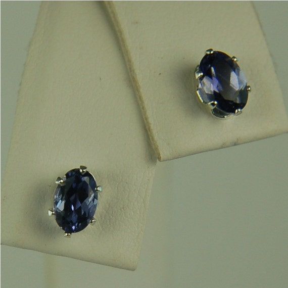 Iolite Stud Earrings Sterling Silver 6x4mm .75ctw