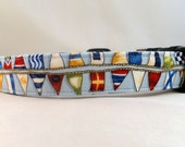 Awesome Nautical Flags on Blue Dog Collar