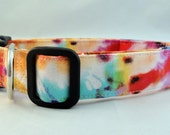 Awesome Bright Pink Orange Purple and Blue Tie Dye Dog Collar