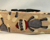 Awesome Sock Monkeys and Buttons on Tan Dog Collar