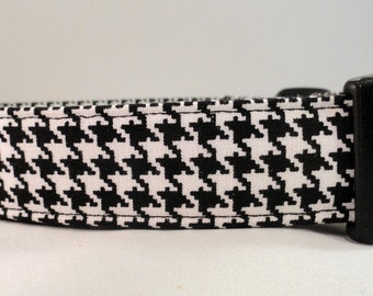 Awesome Black and White Houndstooth Dog Collar