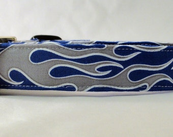 Silver Chrome Fire Flames on Bright Blue Dog Collar flame