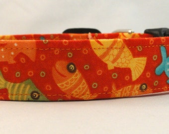 Awesome Lollipop Fish with Bubbles on Burnt Orange Dog Collar