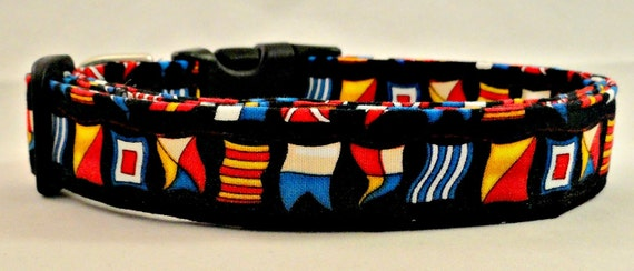 Awesome Nautical Flags on Black Dog Collar