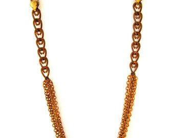 Elemental Current Necklace - with copper hued brass chains