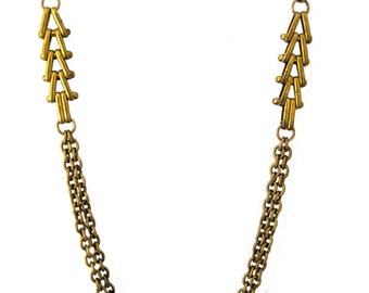 Subtle Harvest II  Necklace - long, with brass chains