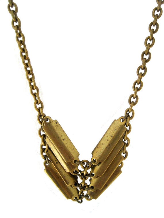 Shield Necklace - with vintage brass chains and bars
