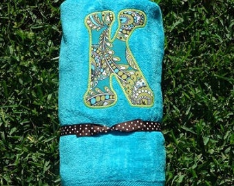 Turquoise Oversized Appliqued Beach Towel