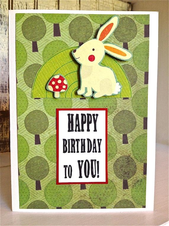 FOREST, Mushroom and Rabbit CARD . Birthday Friend Family Teen White Green Trees Nature Animals Plants Kawaii 1801