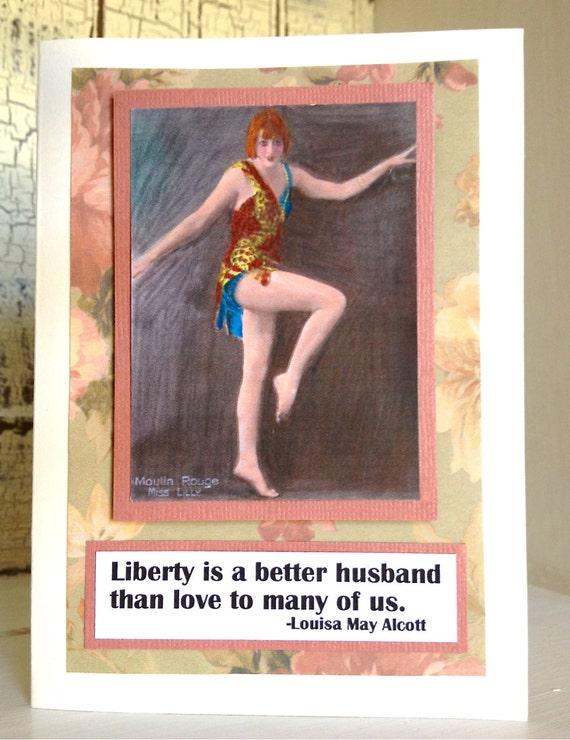 LiBERTY is a Better Husband CARD . Divorce Separation Dating Break Up Sympathy Burlesque Dancer Floral Vintage Red Hair 1806