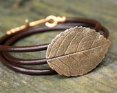 Bronze Rose Leaf Bracelet - Eco Friendly Recycled Bronze - Medium Rose Leaf Leather Wrap