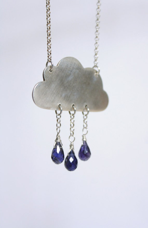 Reserved For Karen - Purple Rain Cloud Necklace - Iolite Gemstone Raindrops - Eco Friendly Recycled Silver
