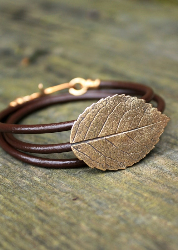Bronze Rose Leaf Bracelet - Eco Friendly Recycled Bronze - Medium Rose Leaf Leather Wrap