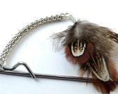 Argentium Sterling Silver Forars Kaede, Pheasant Feather and Rigid Steel Hairstick Freeform Random