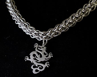 Stainless Steel Jens Pind Linkage 7 Ring Variant Necklace with Laser Cut Steel Dragon Pendant