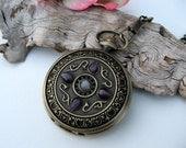 Antique Bronze Pocket Watch - Amethyst Jewels - Pocket Watch Chain - Victorian - Steampunk - Watch - Item MPW47