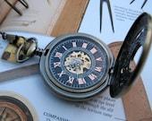 Roman Pocket Watch, Antique Bronze Filigree Pocket Watch with Pocket Watch Chain - Watch - Groom - Groomsmen - Steampunk - Men - Item MPW41