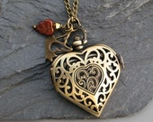 For Your Love - Locket Watch Necklace Antique Bronze Filigree Heart - Timeless Treasure SALE