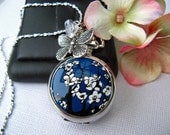 "18th Century Antique Style Cherry Blossom Pocket Watch Pendant Necklace, 20-24"" Sterling Silver or 24-30"" Silver Plated Chain - Engravable"