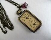 Double Watch Necklace, Antique Bronze Floral Watch Pendant, Swarovski Charm, Amethyst Czech Glass Flower - Watch
