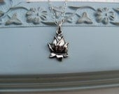 Lotus Necklace - Lotus Blossom Flower of Love, Sterling Silver Charm Pendant - Sterling Silver Chain