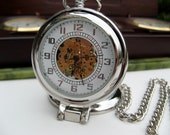 18th Century Style Pocket Watch with View Window and Pocket Watch Chain - Groomsmen - Best Man -  Father of the Bride - Watch - Item MPW164