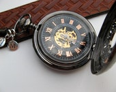 Personalized Watch, Black Mechanical Pocket Watch, Watch Chain, 2 Silver Letter Charms - Groomsmen Gift - Item MPW704-SSPC