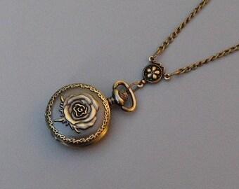 Sale - Watch Necklace - Antique Bronze - Victorian Rose Watch Locket Necklace