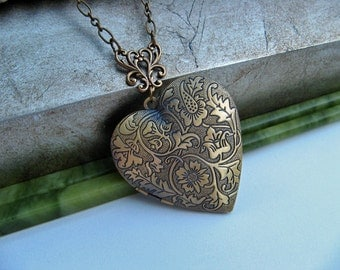 Antique Bronze Heart Photo Locket - Floral Tapestry Design - Timeless Keepsake Jewelry by Art Inspired Gifts