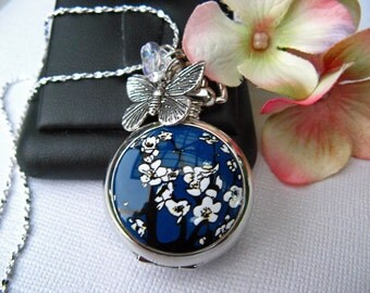 "18th Century Antique Style Cherry Blossom Pocket Watch Pendant Necklace, 20-24"" Sterling Silver or 27-30"" Silver Plated Chain"