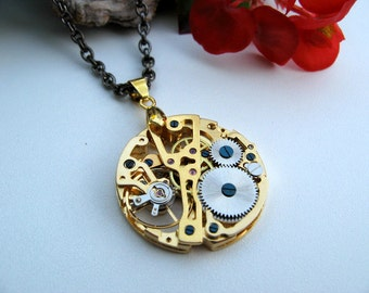 Sale - Pocket Watch Movement Steampunk Necklace - Victorian Era Golden Mechanical Watch Movement Necklace