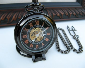 19th Century Pocket Watch, Black Roman Mechanical, Pocket Watch Chain - Engravable - Groomsmen Gift - Steampunk - Watch - Item MPW44