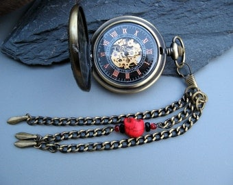 Sky Pirate Pocket Watch - Steampunk Bronze and Wood Mechanical Watch - Skull Watch Fob Chain - Item MPW256F