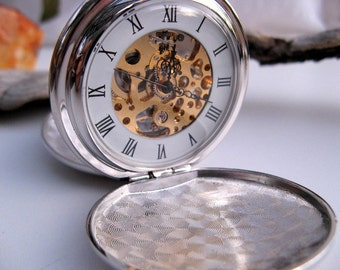 Pocket Watch Engravable Silver Mechanical Watch with Watch Chain - Groomsmen Gift - Double Cover Watch - by Art Inspired Gifts - Item MPW243