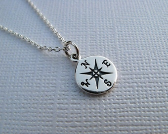 Sale - Sterling Silver Compass Necklace - Stamped - Compass - Charm - Sterling Silver Jewelry