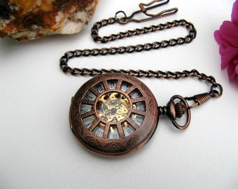 Copper Roman Mechanical Pocket Watch - Pocket Watch Chain - Victorian Steampunk Era - Watch - Groomsmen - Item MPW162