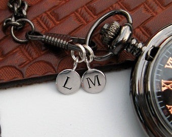 1pc Sterling Silver Plated Letter Charm Disk - Personalized Pocket Watch Initial Charm - 13MM - Cast Stamped - Item SSPD A-Z