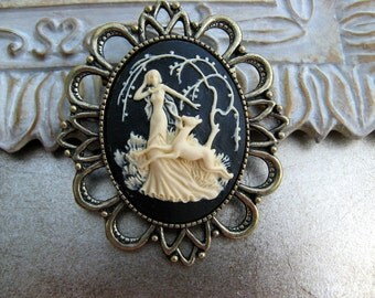 Sale - Ivory Lady and the Fawn Cameo Brooch - Victorian Steampunk Era