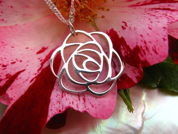 """Sweet Rose Necklace - Sterling Silver Rose Necklace - 18"""" Sterling Silver Chain"""
