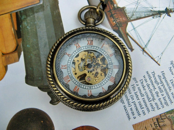 19th Century Pocket Watch, Brass Mechanical Magnifying, Pocket Watch Chain - Steampunk, Groomsmen - Item MPW251