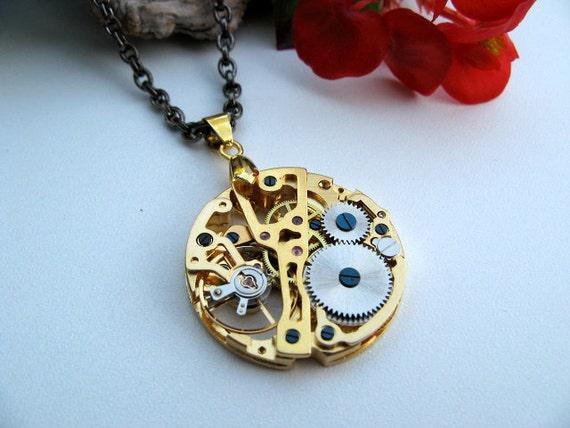 Sale - Pocket Watch Movement Steampunk Necklace - Victorian Era Golden Mechanical Watch Movement Necklace by ArtInspiredGifts steampunk buy now online